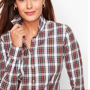 Talbots Perfect Shirt Happy Plaid Red/Gold 2